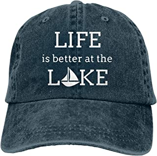 Unisex Adults Vintage Washed Baseball Cap Adjustable Dad Hat - Life is Better at The Lake Black