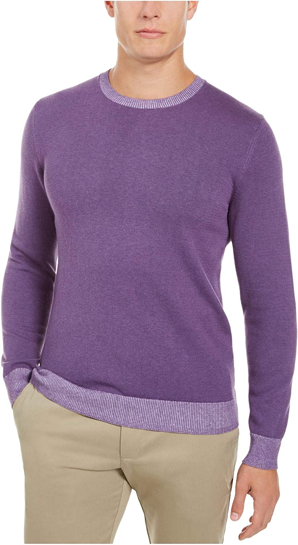 Tasso Elba Mens Sweater Crewneck Pullover Ribbed-Trim Purple 3XL