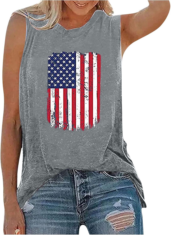 Aukbays 4th of July Womens Tank Tops Patriotic Shirt USA Flag Stars Stripes Printed Sleeveless T-Shirt Tees