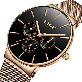 LIGE Ultra-Thin Unisex Women Men Watches Fashion Waterproof Analog Quartz Watch Stainless Steel Mesh Rose Gold Wristwatch