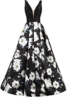 Floral Print Evening Dresses for Women A Line Long Black Prom Ball Gowns