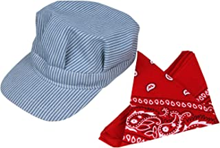 Classic Train Engineer Conductor's Adjustable Cap and Bandana Set Youth Size