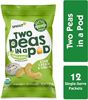 Sprout Organic Two Peas in a Pod Plant Powered Protein Puffed Snacks, Sour Cream & Chives, 0.85 Ounce Single Serve Packets (Pack of 12) (Packaging May Vary)