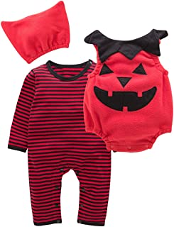 UNIQUEONE Toddler Baby Halloween Cute Strawberry Print Fancy Costume Jumpsuit Outfits 3PCS