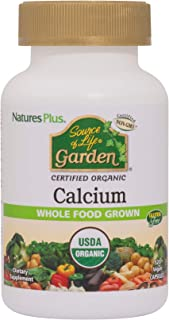 NaturesPlus Source of Life Garden Certified Organic Calcium with AlgaeCal - 1000 mg, 120 Vegan Capsules - Plant-Based Bone...