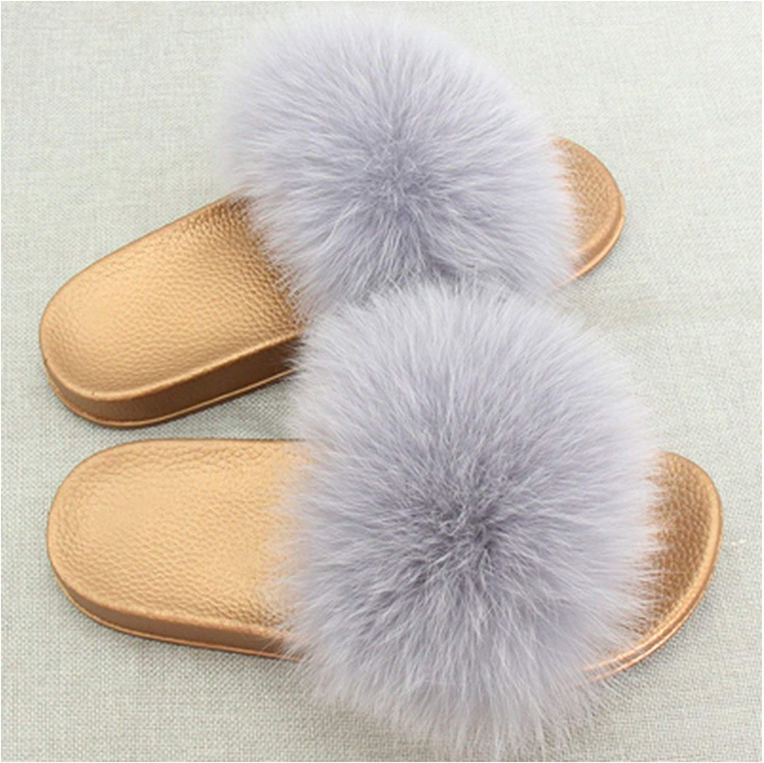 Leifun Fox Fur Slippers Flip Flops Furry Slippers shoes Cute Fluffy Slippers Chaussons Slip On Slides