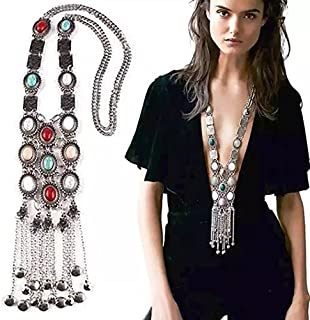 BOLERPE Vintage Retro Rhinestone Silver Turquoise Long Boho Bohemian Statement Ethnic Tribal Necklace for Women