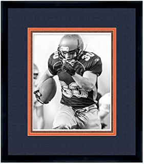Poster Palooza Black Wood Frame for 8x10 Photos with a Triple Mat - Dark Navy Blue, Orange, and Football Textured Mats