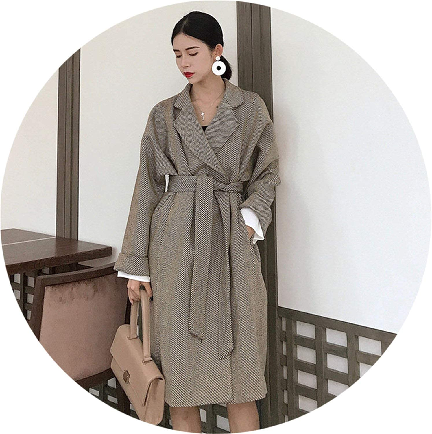 Coat Women Fashion Wool Blends Coat Elegant LongSleeved Loose Outerwear Belt Coat