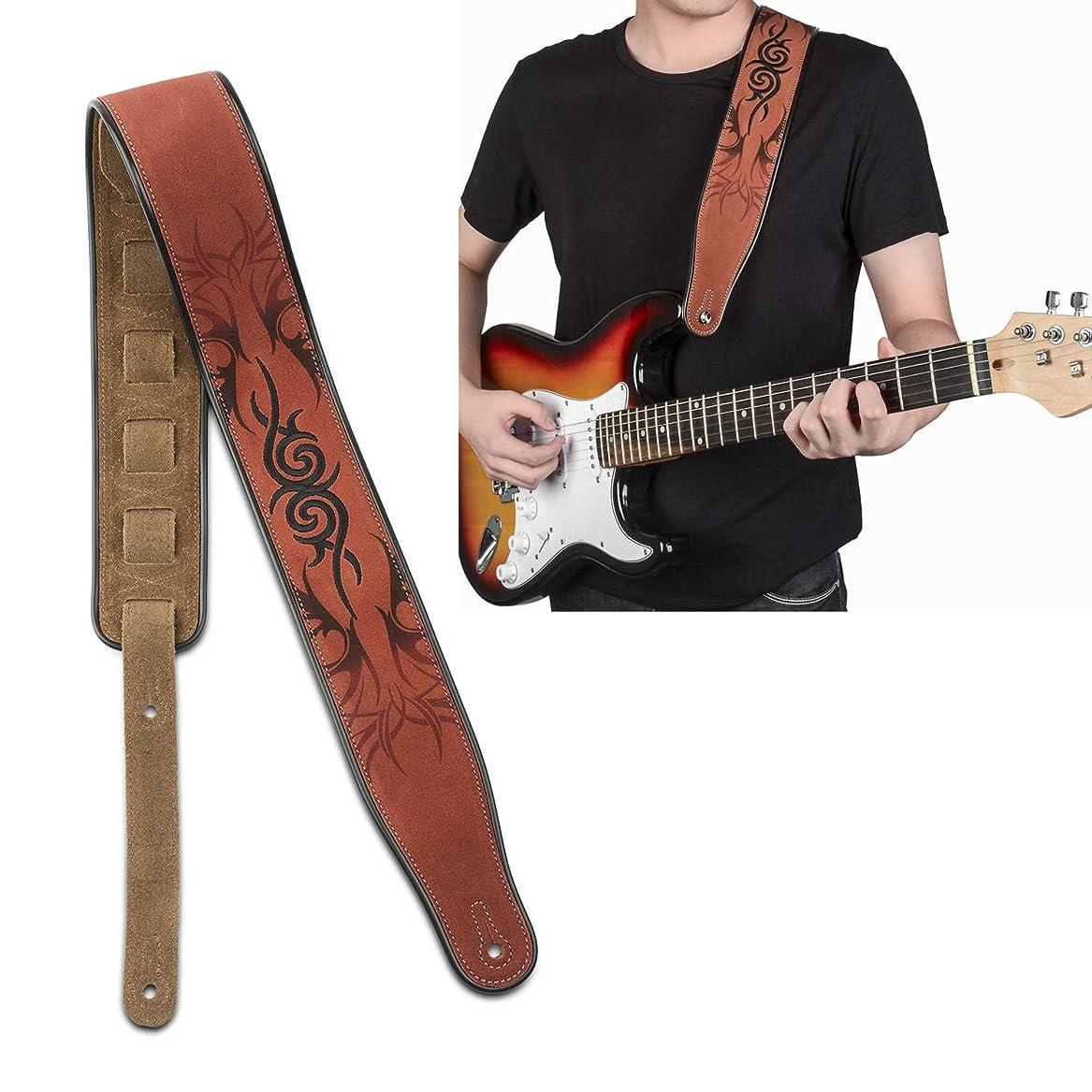 丁寧恨み文法ギターストラップ レザー 幅広 7cm エレキ ベース用ストラップ革 - マリナの逸品 スエード 滑り止め 柔らかい ギターストラップ 皮 Leather Strap(MSR2)