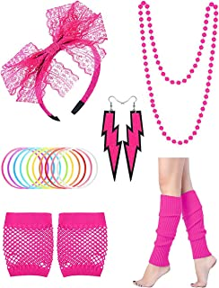 Women's 80s Costume Accessories Set Earrings Necklace Bracelet Tutu Skirt Leg Warmers Gloves for Party Halloween Cosplay