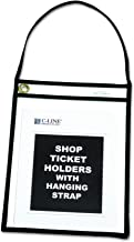 C-Line Shop Ticket Holders with Straps, Stitched, Black, Both Sides Clear, 9