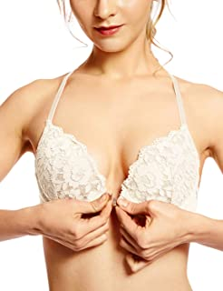 61b0b323de82f3 DOBREVA Women s Floral Lace Back Front Closure Padded Push Up Underwire Bra  Plunge