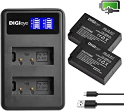 Upgraded LP-E17 Battery (2-Pack) & Smart LCD Display USB Dual Charger for Canon LPE17, EOS RP, Rebel T7i, T6i, T6s, SL2, SL3, M3, M5, M6, 77D, 750D, 760D, 800D, 200D, 8000D, KISS X8i Cameras