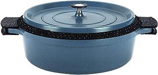 Roseto - Olla ovalada, hierro fundido de aluminio, revestimiento de aspecto de piedra, todo tipo de fuegos, Mallard Bleu, 38 cm