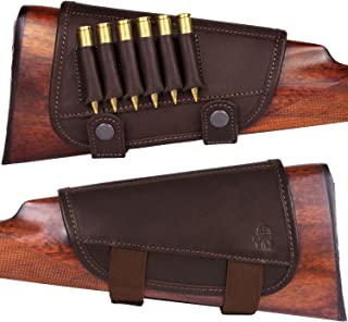 BRONZEDOG Waterproof Genuine Leather Ammo Holder Neoprene Padded Buttstock Cheek Rest Adjustable Shotgun Stock Cover Hunting Accessories .30-30 .308 Caliber or 12 Gauge