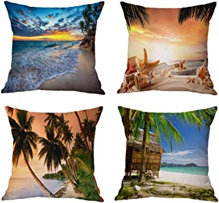 Eanpet 3D Printing Pillow Cover 18x18 Throw Cushion Covers Summer Beach Image Couch Decor Home Decorative Pillow Case for Bed Sofa Chair (Pack of 4) (Beach)