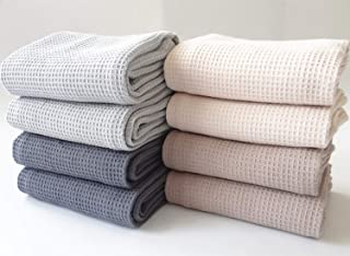100% Cotton Waffle Weave Kitchen Dish Towels, Ultra Soft Absorbent Quick Drying Cleaning Towel, 13x28 Inches, 4-Pack (Dark...