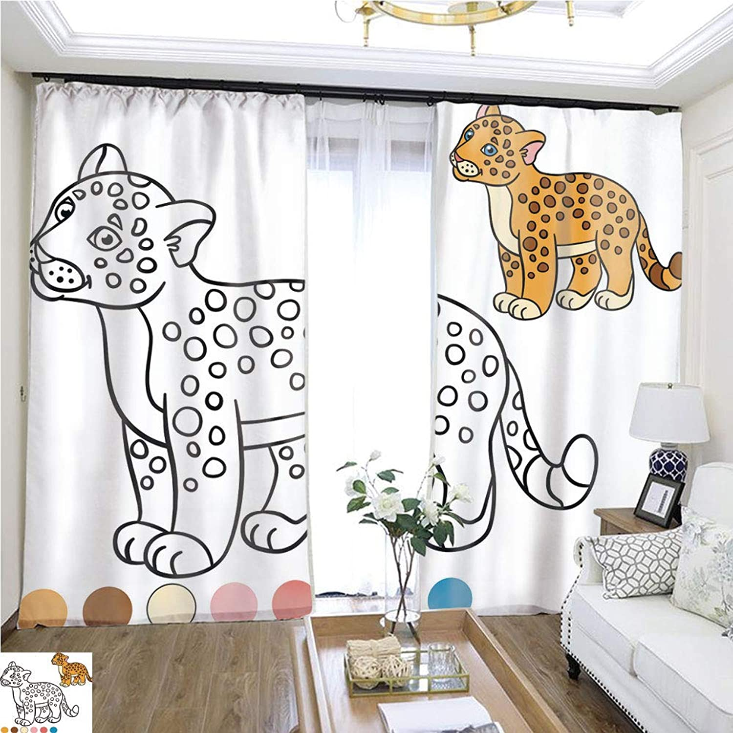 Air Port Screen coloring Page with colors Little Cute Baby Jaguar 1 W108 x L86 Reduce Noise Highprecision Curtains for bedrooms Living Rooms Kitchens etc.