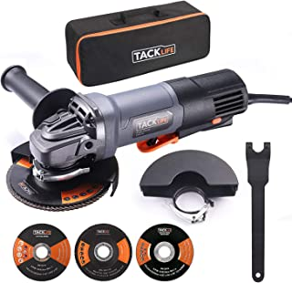 Angle Grinder,4-1/2-Inch,11-Amp(1300W) 12000RPM HPP Tool W/Paddle Switch,1 Grinding Wheel,1 Cutting Wheel,1 Flap Disc,2 Wheel Guards,1 Carrying Bag,Tacklife P3AG115