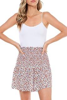 Women's Patterned Mini Skirt Casual Summer Smocked Pull On
