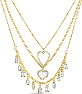 Steve Madden Rhinestone Heart Fancy Shaped Charms Glitter Yellow 3 Row Layered Chain Necklace for Women