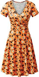 MSBASIC Short Sleeve Wrap V Neck Casual A Line Halloween Dress