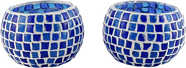 Tea Light Holders Handmade Mosaic Tealight Candle Holders for Home Decor, Wedding/Birthday Party Gifts Pack of 2
