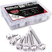 Hilitchi 410 Stainless Steel #12 Hex Washer Head Self Drilling Sheet Metal Tek Screws Assortment Kit Set with Drill Point,...