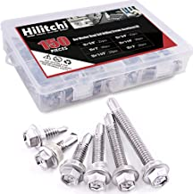 Hilitchi 410 Stainless Steel #12 Hex Washer Head Self Drilling Sheet Metal Tek Screws Assortment Kit Set with Drill Point, Self Driller, 150 Pieces