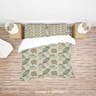 SCOXIXI Bed Cover Set Cool Looking Owls Different Shapes and Sizes Drawing Style Sketch Pattern Print Decorative (Comforter Not Included) Soft, Breathable, Hypoallergenic, Fade Resistant