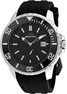 Seapro Men's Force Stainless Steel Automatic Rubber Strap, Black, 24 Casual Watch (Model: SP0512)