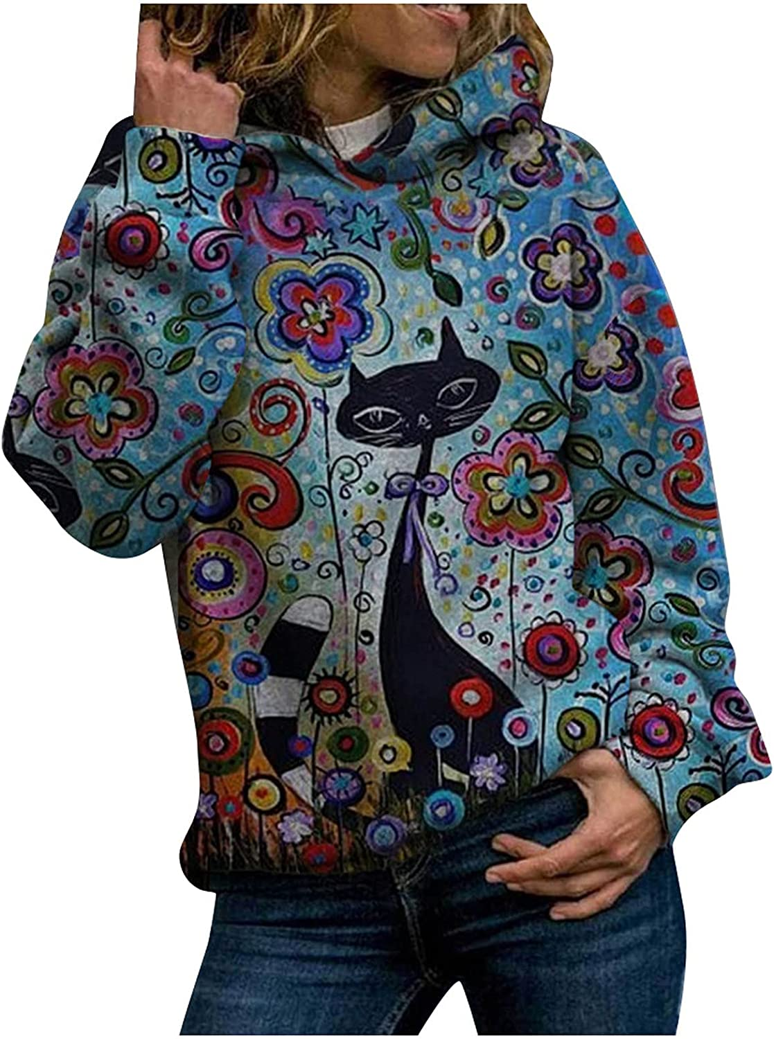 Hoodies for Women Pullover Tops Fashion Animal Cat Printed Comfy Long Sleeve Hooded Sweatshirts Coat Blouses