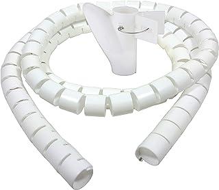 Bambelaa! Kabelschlauch 1,5m 3,0m Kabelkanal kürzbar Kunststoff flexible Kabelorganisation 20mm 30mm Durchmesser (Weiß, 3,0m x 30mm)