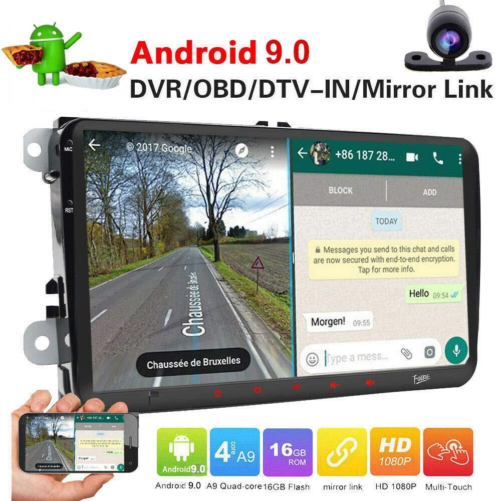 Android 9.0 Radio de coche de 9 pulgadas pantalla táctil capacitiva HD GPS navegación Bluetooth USB