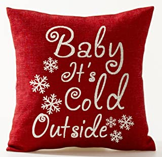 Season's Blessing Warm Sayings Baby It's Cold Outside Snowflake In Red Merry Christmas Gifts Cotton Linen Throw Pillow Cas...