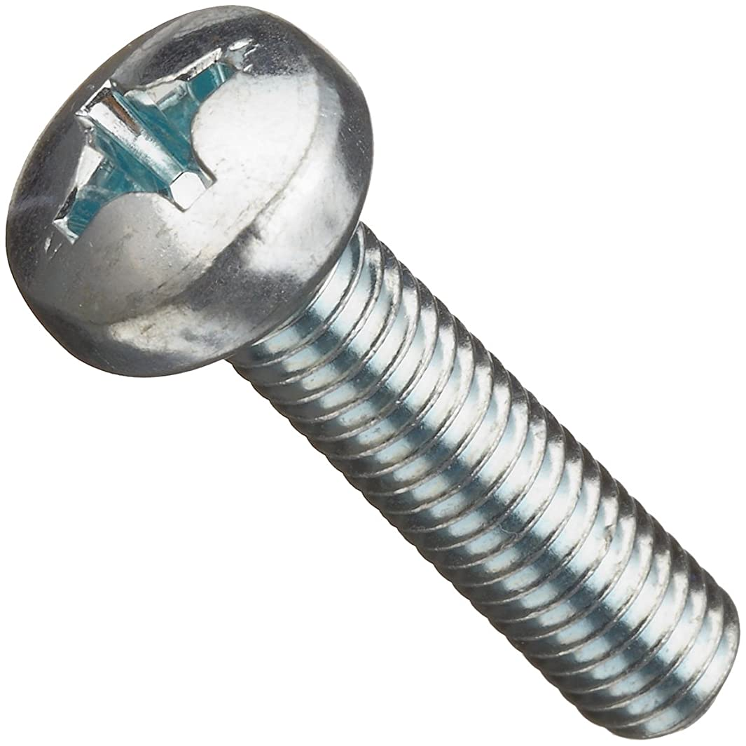 Class 4.8 Steel Machine Screw, Zinc Plated Finish, Pan Head, Phillips Drive, Meets DIN 7985, 6mm Length, M4-0.7 Metric Coarse Threads (Pack of 100)