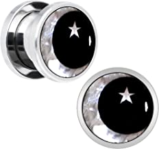 Body Candy Stainless Steel Mother of Pearl Inlay Moon Star Screw Fit Ear Gauge Plug Set of 2 5mm to 20mm