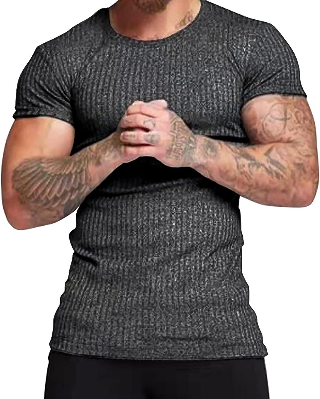 Men's Crew Neck Short Sleeve T-Shirt Linen Loose Breathable Tops Muscle Training Shirt Casual Cotton T-Shirt for Men