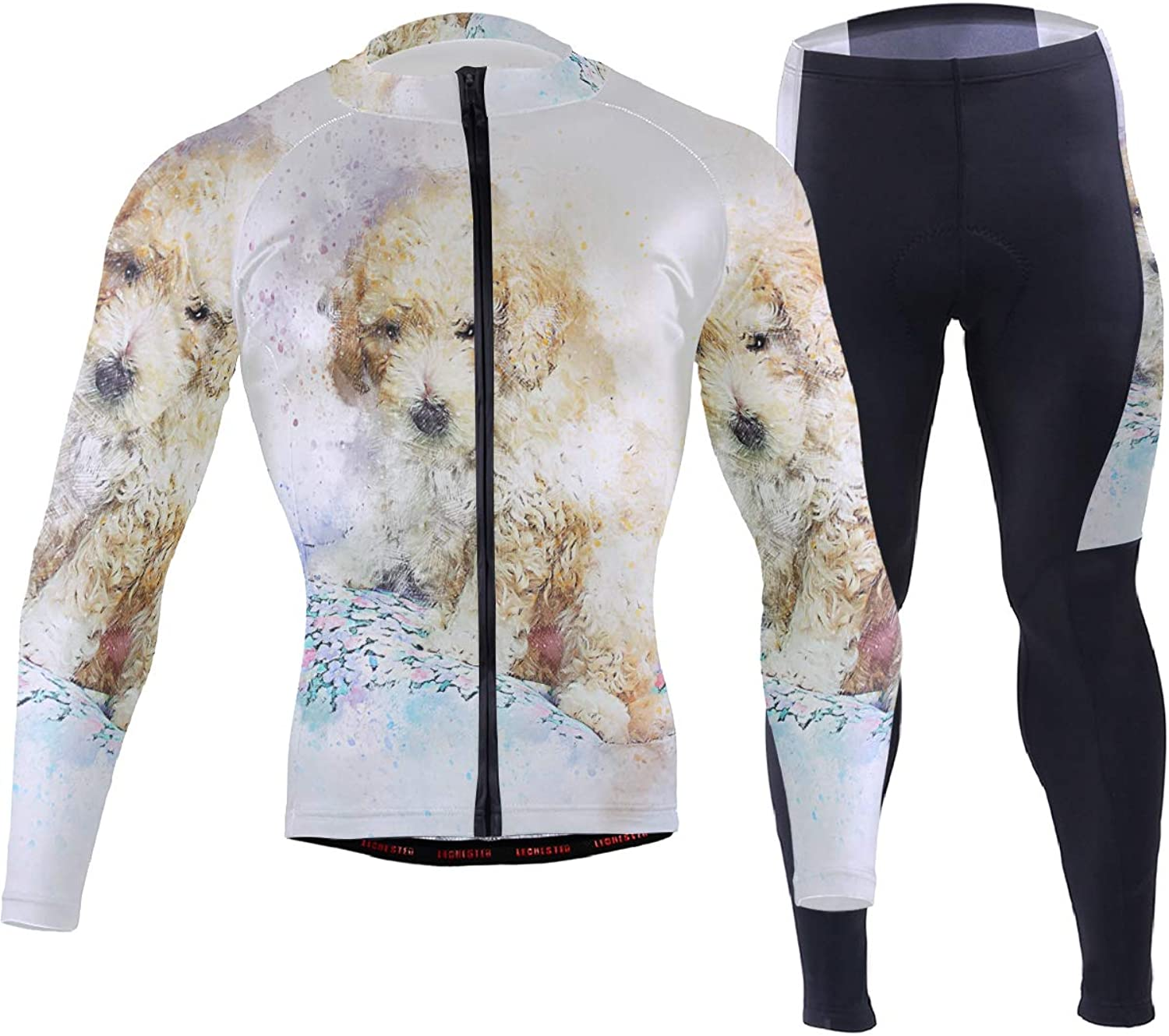 FAJRO Animal Poodle Dog Painting Sportswear Suit Bike Outfit Set Breathable Quick Dry 3D Padded Pants