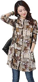 [レリカ] ロング シャツ チュニック 長袖 ゆったり デザイン レディース