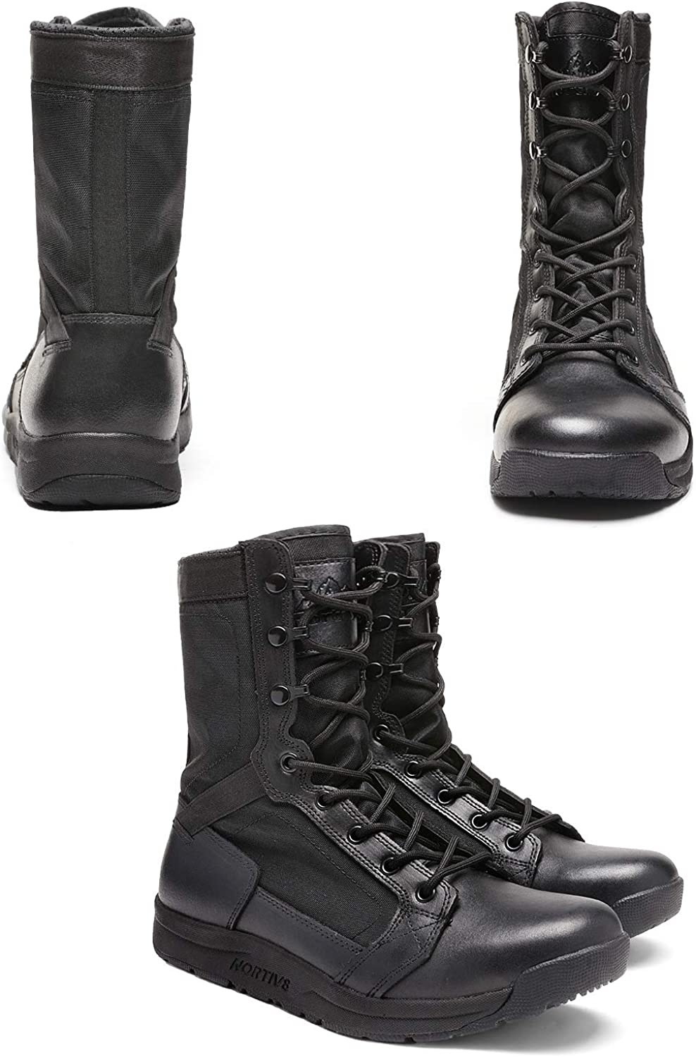 NORTIV 8 Mens Military Tactical Boots Lightweight Leather Work Bootie