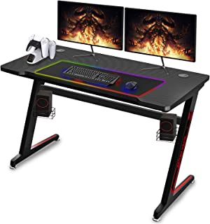 Soontrans Gamingtafel, groot gaming-bureau, koolstofvezel oppervlak, gamer tafel Z-vorm, roestvrij stalen voet, gaming bur...