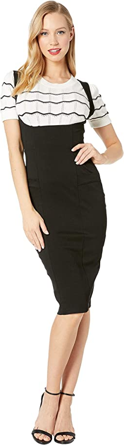 Stretch High-Waisted Fontaine Suspender Pencil Skirt