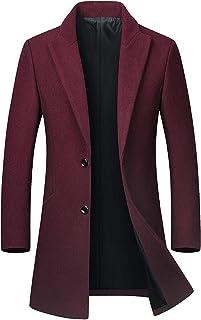 chouyatou Men's Mid-Length Single Breasted Wool Blend Top Coat