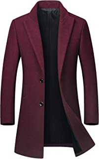 Men's Mid-Length Single Breasted Wool Blend Top Coat