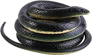 Focket Rubber Snake 130cm Long Realistic Soft Flexible Rubber Snake Garden Props Funny Joke Prank Toy Great Gift for your friends