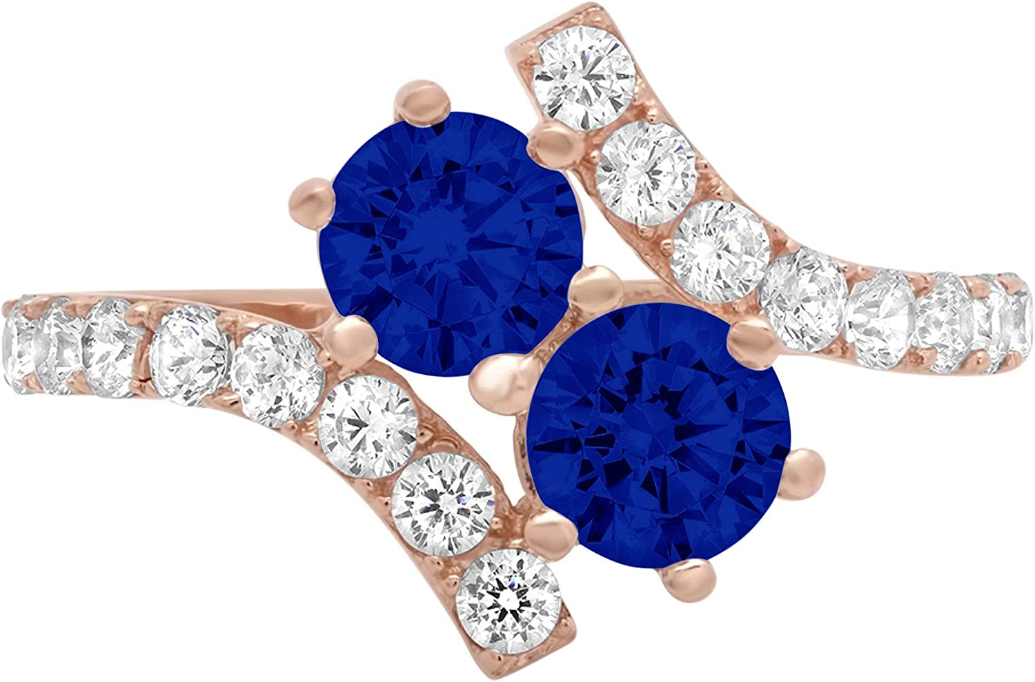 1.92ct Round Cut 2 stone love Solitaire Flawless Ideal Genuine Cubic Zirconia Blue Sapphire Engagement Promise Statement Anniversary Bridal Wedding with accent Designer Ring Solid 14k Rose Gold