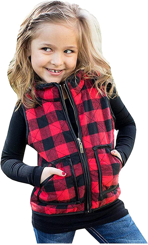 Toddler Baby Girl Plaid Zipper Max 80% OFF Fall San Diego Mall Kids Winter Sleevless Jacket