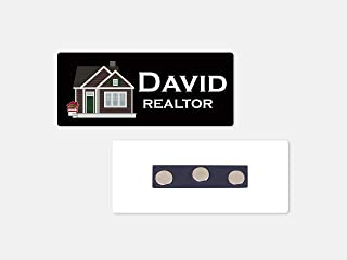 Personalized Magnetic Name Badge/Real Estate Sold Black Background Custom Name Tag - 1.25